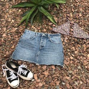 Zara TRF Distressed Cut Off Jean Mini Skirt